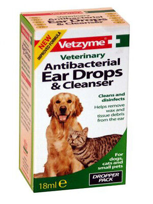 Vetzyme Ear Drops and Cleanser 18 ml Antibacterial for Pets Cats Dogs Free P&P