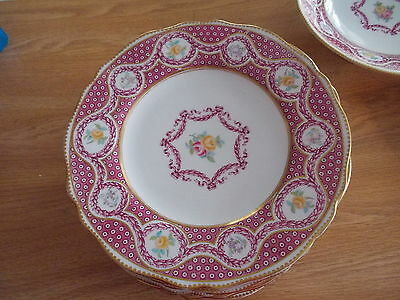 """Set of 12 COPELAND SPODE 9"""" Dinner Plates - Pink Design w/Yellow & Pink Roses"""