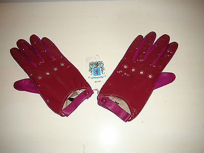 Portolano Women's Patent Leather Driving Gloves Pink Purple Lined Size 7