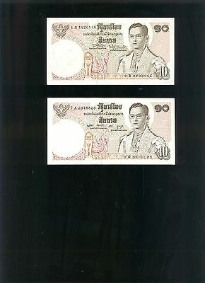 Thailand 10 Baht (1969-70) Note (Lot Of 2)
