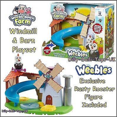 Weebles Weebledown Wobbily Farm Mill & Barn Playset Windmill Rusty Rooster NEW