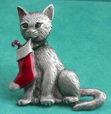 Christmas Kitty W/ Holiday Red Stocking Jonette Brooch
