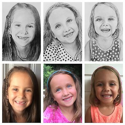 Custom Pencil Drawing Portraits from your photo Size 8x10 Gift for All Occasions