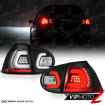 [COOLEST NEON TUBE] 2006-2009 MK5 GOLF GTI RABBIT R32 Black LED Tail Lights 4PC