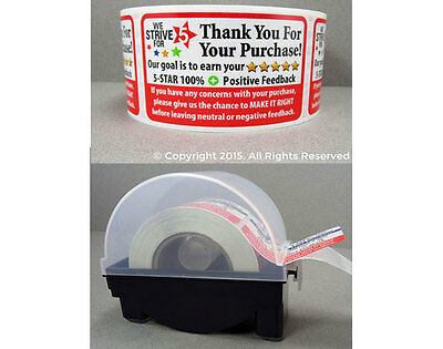 1000 eBay Amazon Thank You For Your Purchase Labels Stickers & Label Dispener