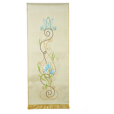 Lectern Cover, Marian symbol and flowers, shantung