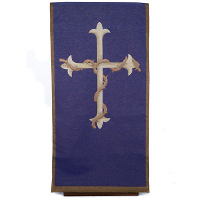 Lectern cover golden cross purple background