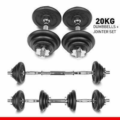 Weights 20kg Dumbbell Set Dumbbells Fitness Free Training Gym Bar Iron Plates