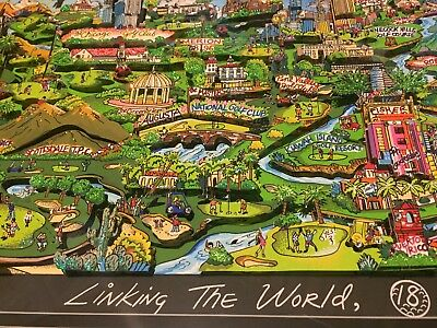 Charles Fazzino: Original 3D LINKING THE WORLD 18 HOLES TEE TIME, handsigniert