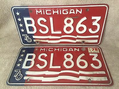 A Pair Of 1976 State Of Michigan License Plate Plates Free Shipping