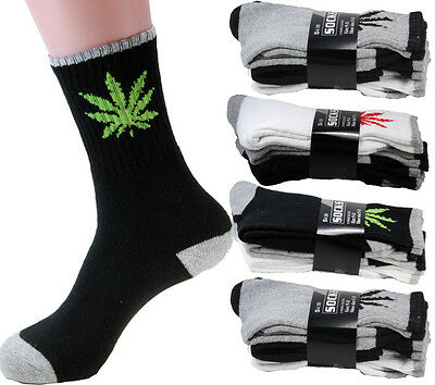 New 3-12 Pairs Mens Sports Crew Socks Cotton Leaf Weed Marijuana Solid Work Hike