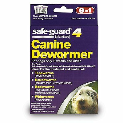 8In1 Safeguard Dewormer Medium Dog Wormer Worm 6 Week Old + Free Ship In The Usa