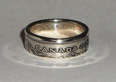 CANADA  COIN RING MADE FROM SILVER CANADIAN HALF DOLLAR (50 cents) SIZE 7-13