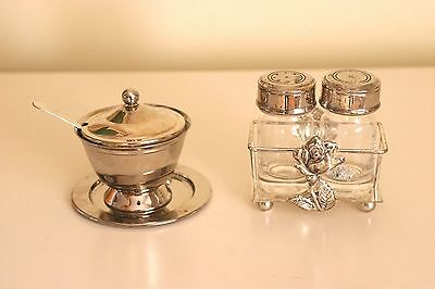 Silver Plate Sugar Bowl with spoon and lid and salt and pepper shakers