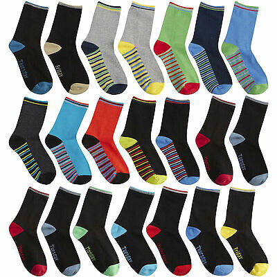 STREET ESSENTIALS Boys Cotton Rich Socks 5 Pack Colourful Bright Heel And Toe