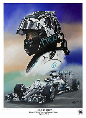 NICO ROSBERG Large A3 limited print signed by artist Greg Tillett FORMULA 1 F1