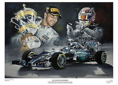 LEWIS HAMILTON A3 limited edition print signed by artist Greg Tillett FORMULA 1