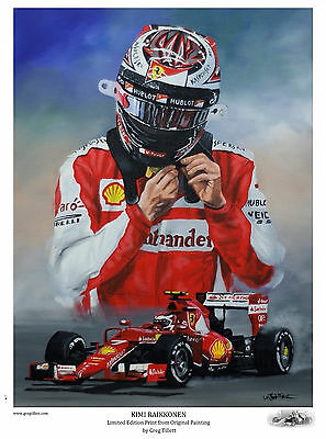 KIMI RAIKKONEN Large A3 limited edition print by Greg Tillett FORMULA 1 F1