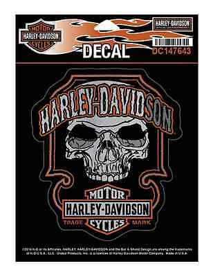 Harley-Davidson Dark Bar & Shield Skull Decal, MD 4.625 x 5.25 inch DC147643