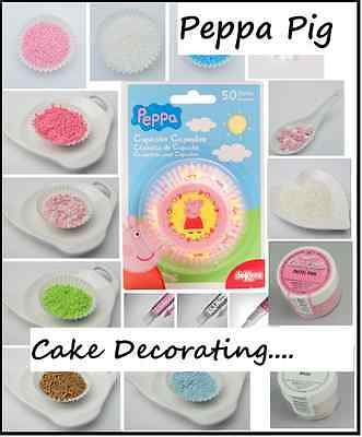 Peppa Pig Cake Decorating Sugar Sprinkles Cupcake Cases Edible Glitter Candle