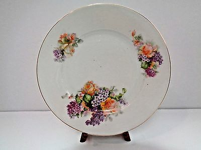Set of Two (2) Vintage PL Empire China Plates from Austria - Flowers w/gold edge