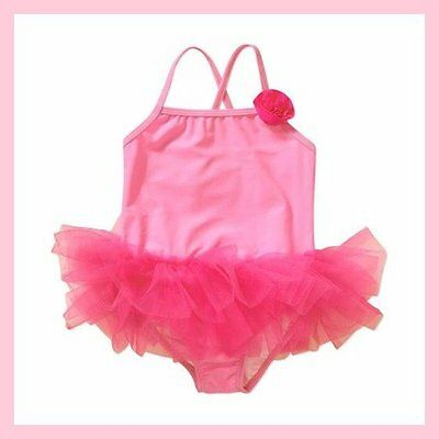 Nwt Op Pink Tutu Flower One Piece Upf 50+ Swimsuit Size 12 18 24 Months