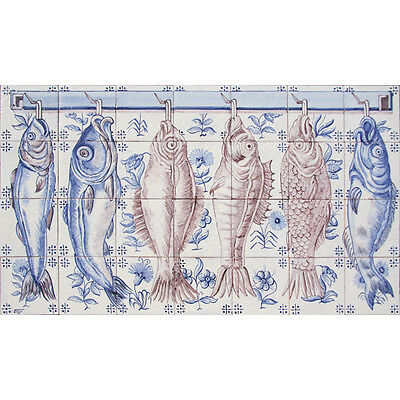 Portuguese Traditional Clay Azulejo Tiles Panel Mural CORREIO MOR KITCHEN FISHES