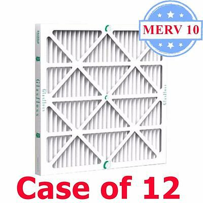 16x24x2 Air Filter MERV 10 Pleated by Glasfloss - Box of 12 - AC/Furnace Filters