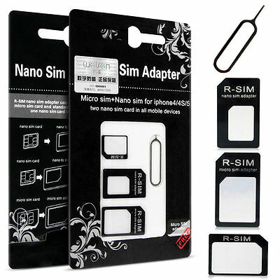 4 In 1 Pack Nano To Micro & Standard Sim Card Adapter For Mobile Phones Black
