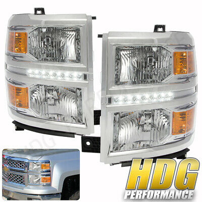 For 14-16 Chevy Silverado 1500 Replacement Headlight Lamps Chrome Lens Led Drl