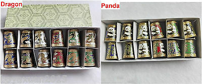 12PCS Asian Dragon / Panda Pattern Lots Cloisonne Thimbles In Original Box