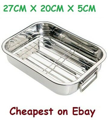 Deep Stainless Steel Roasting Pan With Grill Rack Tray Baking Roaster Tin 27Cm