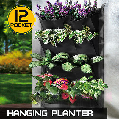 12 Pockets Vertical Garden Wall Planter Hanging Bag GREAT FOR HERBS 60*80cm