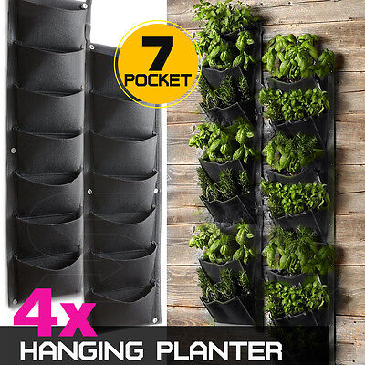 4 X 7 Pockets Vertical Garden Wall Planter Hanging Bag GREAT FOR HERBS 31*100cm