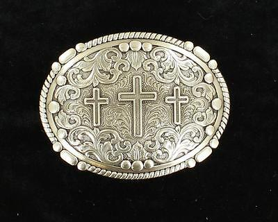 Nocona Western Mens Belt Buckle Oval Rope Edge 3 Cross Scrolling 37980
