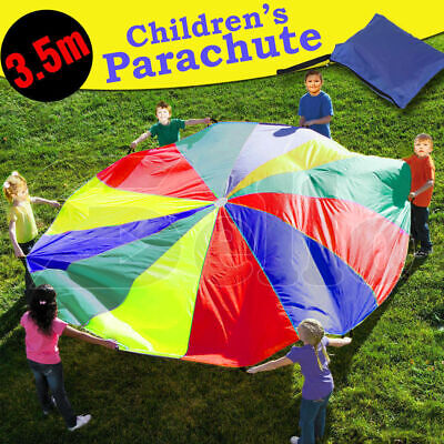 Multi-Colour 3.5M Kids Play Parachute 12 Handles Portable Outdoor Indoor Toy