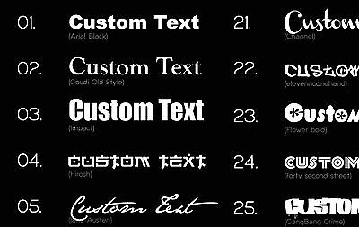 2X CUSTOM VINYL DECAL. sticker for Archery Bow Bag. CHOOSE COLOUR & FONT
