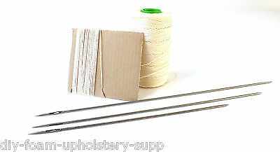 "Buttoning Needle & twine kit. Upholstery needle double point 10"", 12"", 14"""