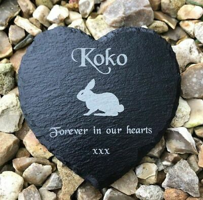 Pet Memorial Personalised Engraved Slate Stone Grave Marker Plaque Rabbit