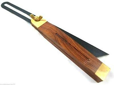 """10.5"""" Hardwood Sliding Bevel Brass Inlay & Fittings Carpentry Angle Finder Tool"""