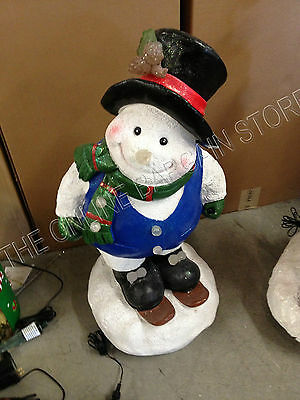 Frontgate Christmas Holiday Fiber Optic Light Snowman Skiing music turning
