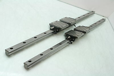 2 Misumi SSXW 33 Four Way Linear Guides 25mm WIde Linear Bearings 700mm Long