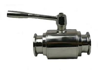 "1"" Bore Ball Valve with 1.5"" Tri Clamp Sanitary Fittings, Stainless Steel 304"