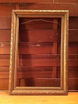 "Antique Vintage Wood Small Picture Frame 12.5"" X 8.5"""