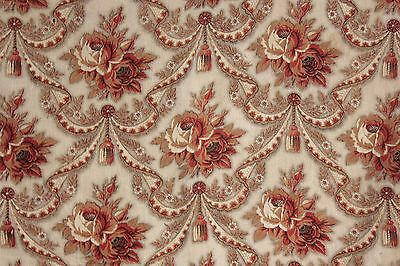 Antique French madder brown printed cotton fabric floral design c 1840 material