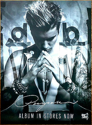 JUSTIN BIEBER Purpose Ltd Ed Discontinued HUGE RARE New Poster +FREE Pop Poster!