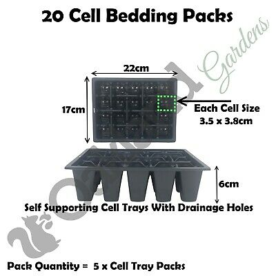 5 X Bedding Packs 20 Multi Cell Inserts Plastic Tray Trays Seeds Seed Quality