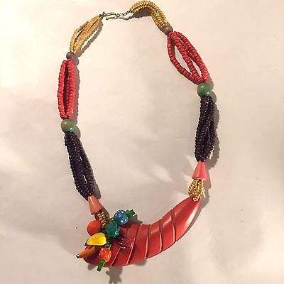VTG Handmade Fruit Salad Vegetable Basket Cornucopia Wooden Beaded Necklace