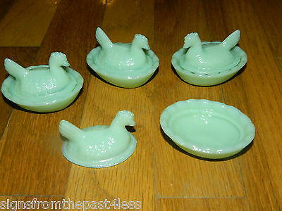 Set/4 Jadeite Jade Milk Glass Hen On Nest Open Salt Dish Cellar Dishes Glass