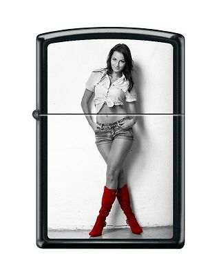 Zippo 6467 Red Shoes Sexy Cowgirl Black Matte Lighter